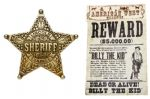 Billy The Kid Wanted Poster & Lincoln Sheriff Badge